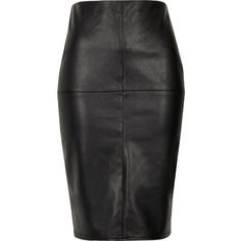 16f3d778d @megank89. 3 months ago. Buncrana, Ireland. River Island black faux leather  bodycon midi skirt ...