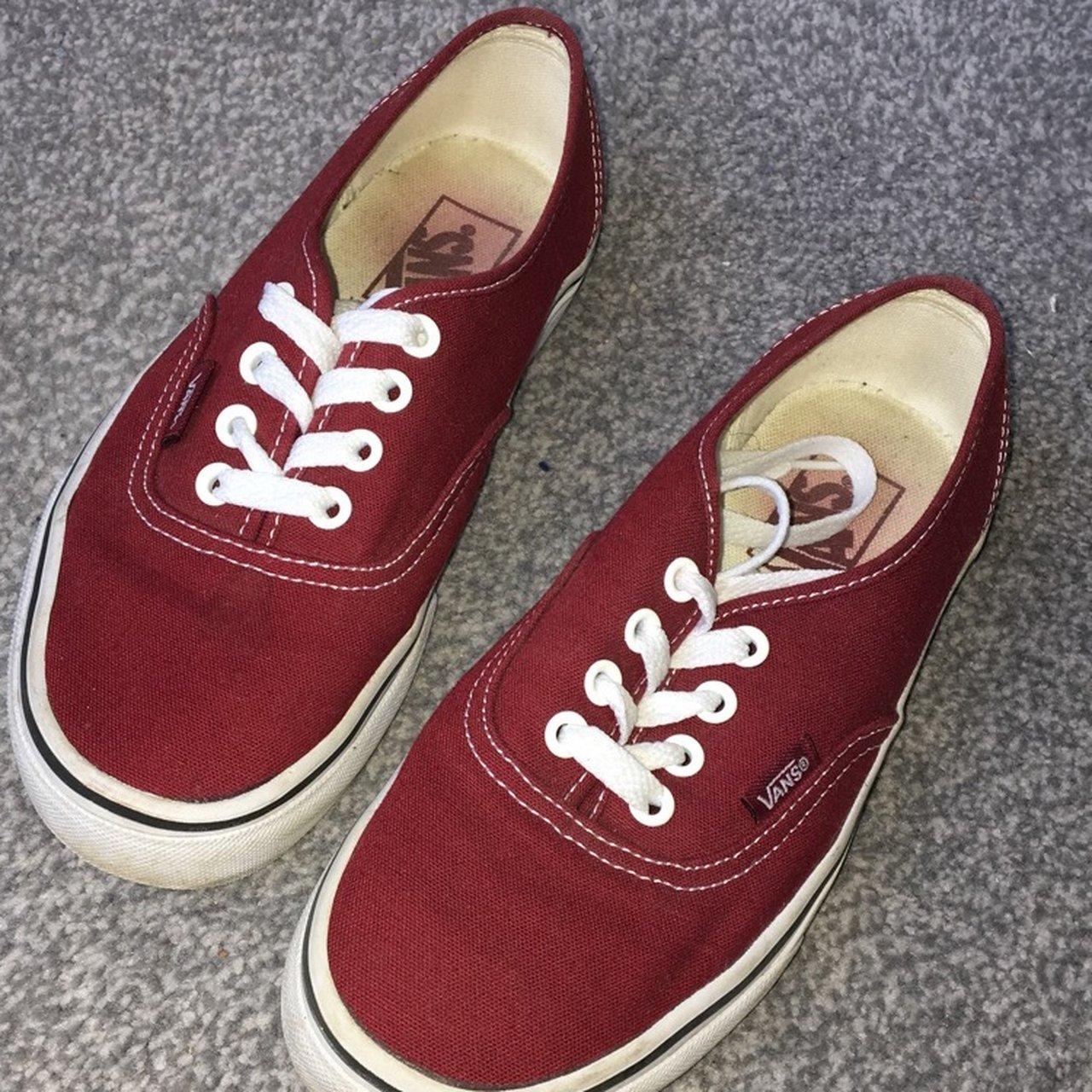7c37833c9a12 Burgundy vans UK size 4. Worn condition