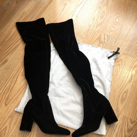 ffe9335a7c3 Black suede heeled knee high boots from   other stories. due - Depop