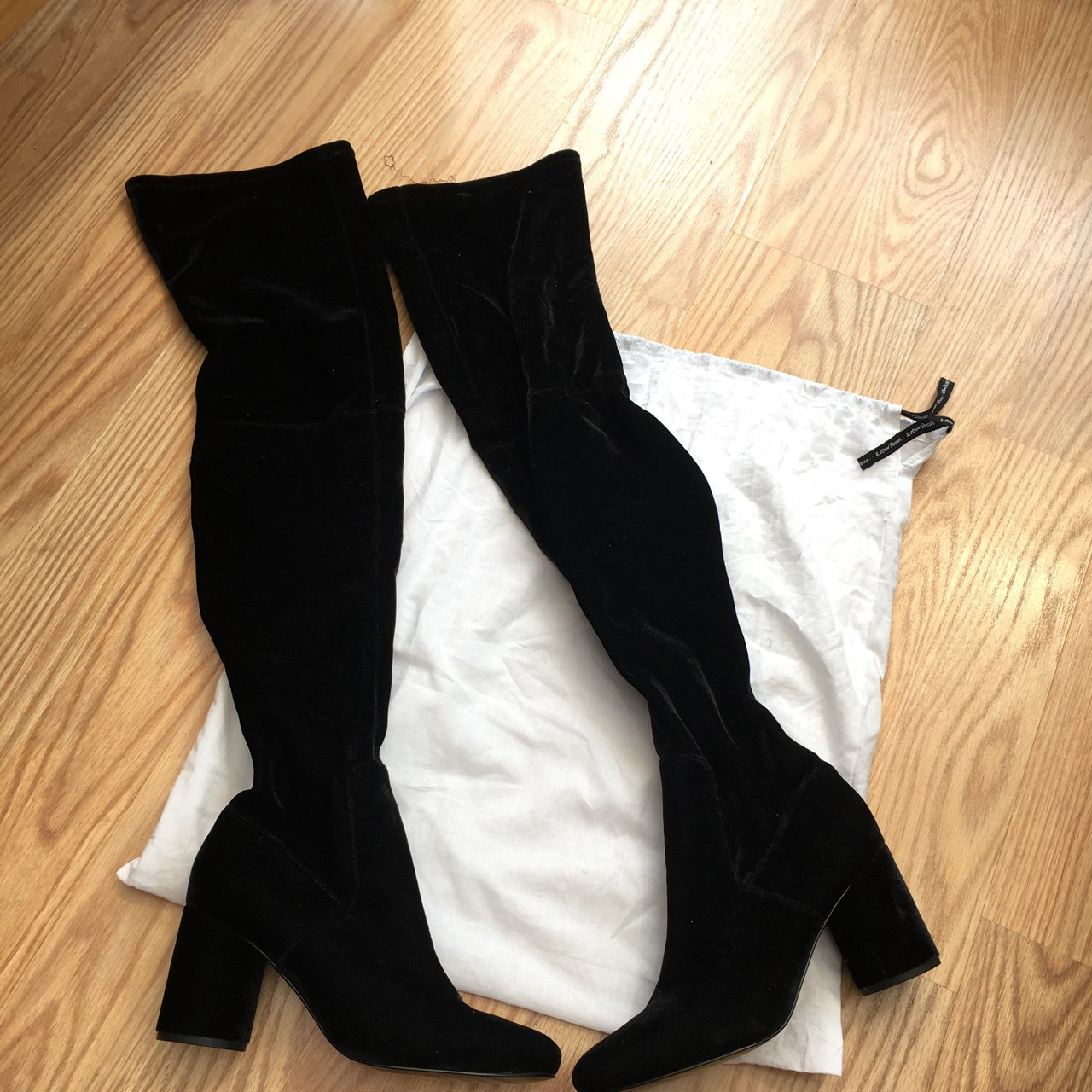 d4f1f8952a1 Black suede heeled knee high boots from   other stories. due - Depop