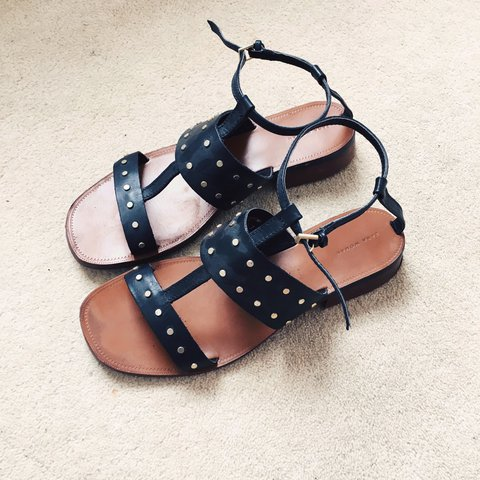 11609b296 Zara black leather flat sandals with gold stud and buckle UK - Depop