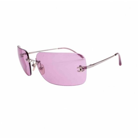 5f67659108 Chanel baby pink tinted sunglasses with cc side detail - Depop