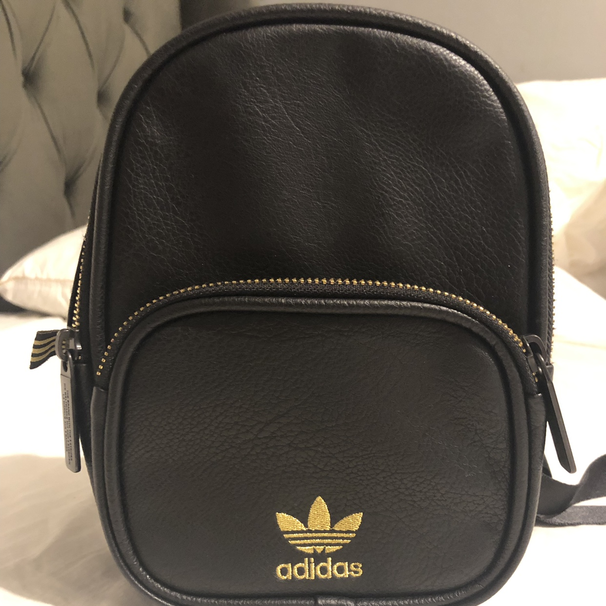 Adidas mini backpack Leather Black and Gold Worn a Depop