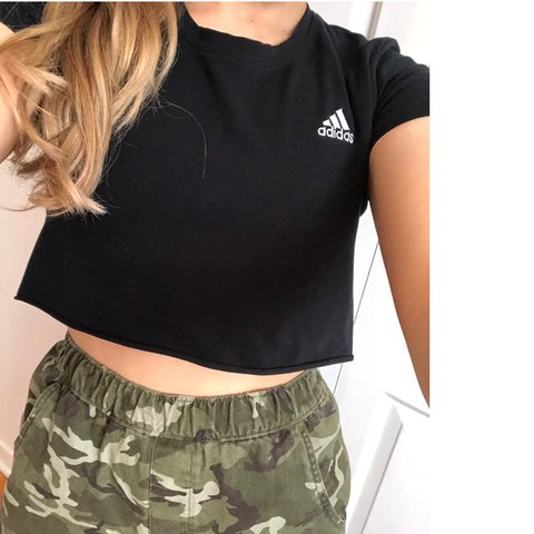 c384b6cc9be 19 cad Black and white adidas crop top!! 😇 Would fit hem, - Depop