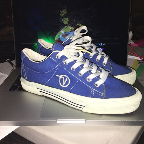 659bb270ee Vintage Vans Made in USA Women s size 7 Blue Canvas Shoes - Depop