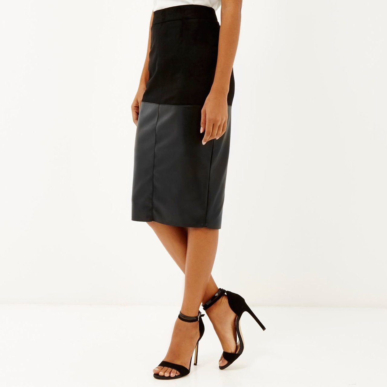 autumn shoes info for outlet store River Island Faux Leather Midi Skirt - Ficts