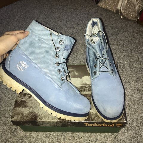 Timberland boots , baby blue. As you can