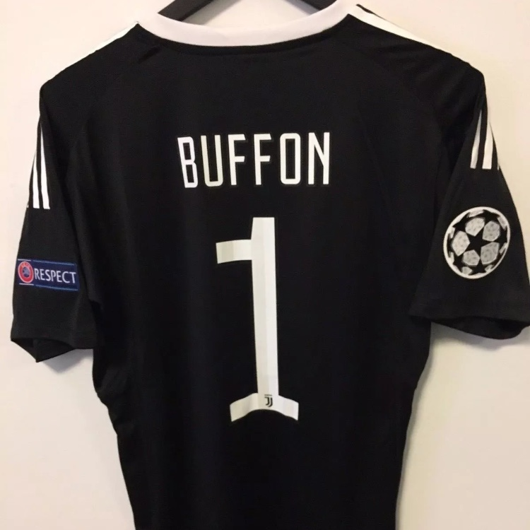 best value 6c3c4 62228 Buffon #1 Juventus Black Goalkeeper Jersey With... - Depop