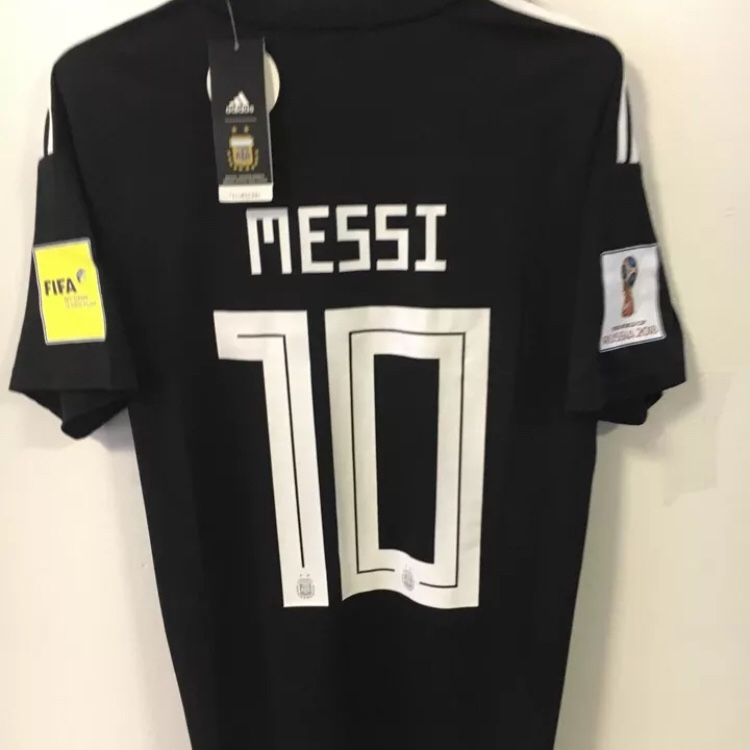 new style 33727 de5fc Messi #10 Argentina World Cup Jersey Away Black... - Depop