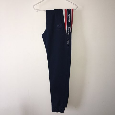 f5f90c31aaca8 Reebok classic track bottoms. Navy with red   white strip   - Depop
