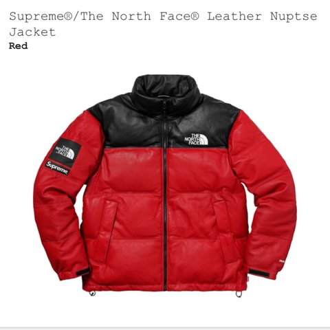 2075c86952 Supreme® The North Face® Leather Nuptse jacket Large Red - Depop