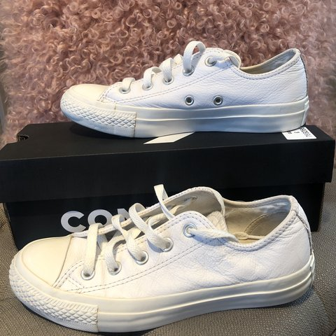 5df417775345 All white leather Converse • Women s size 4 • Good worn - Depop