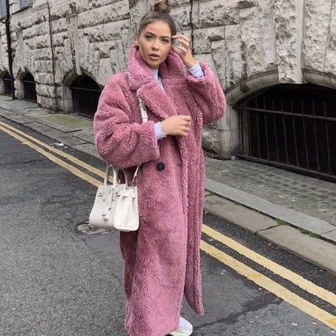4aa54117c1472 Topshop pink borg Borge longline teddy coat Size 8 Brand - Depop
