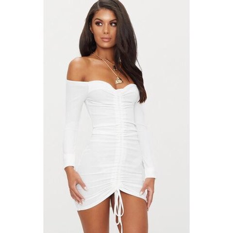 711fce2725fd @aprillette. 5 months ago. Miami, United States. White Ribbed Long Sleeve  Bardot Ruched Bodycon Dress