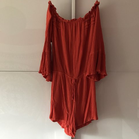 fc1e572e250496 Burnt orange off shoulder playsuit from Topshop size 10. a a - Depop