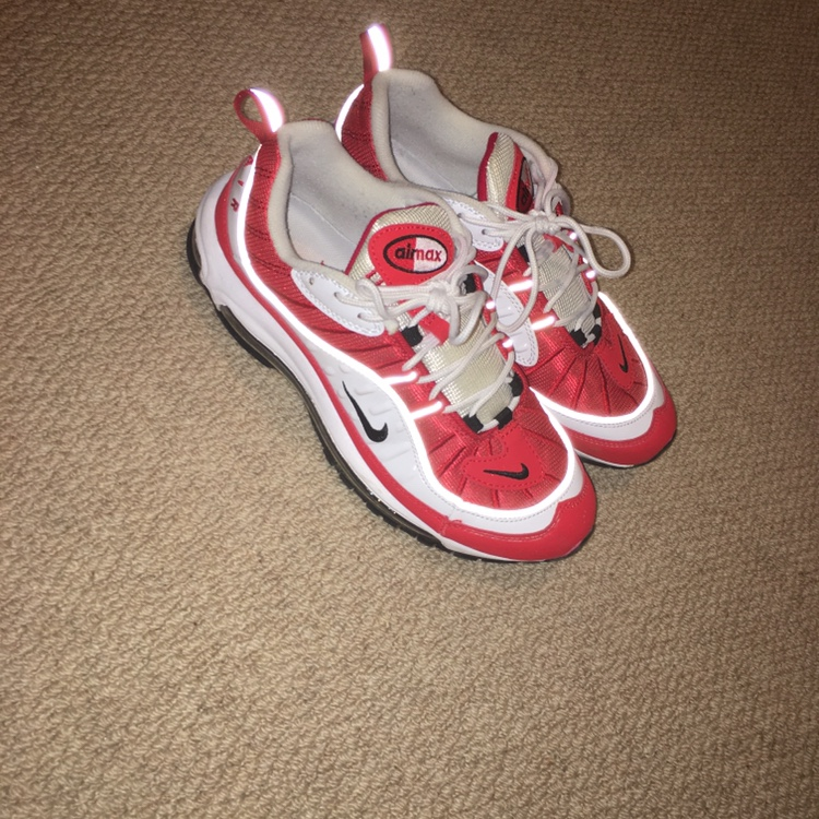 size 40 45422 bbf6f Nike Air Max 98s Red and white colour way Excellent... - Depop
