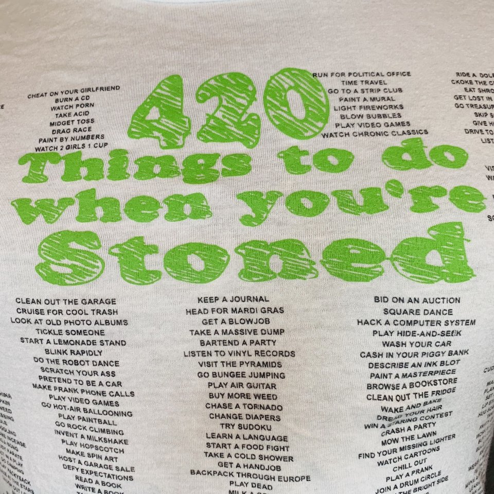 420 Things to do when you're Stoned Tee This shirt    - Depop