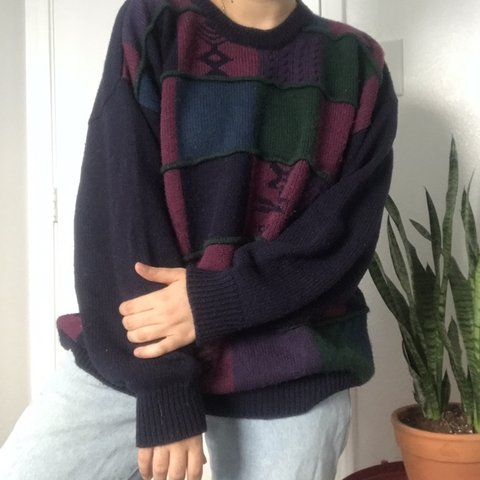 69ad1e5ed1 Chunky Patterned Colorblock Sweater Brand name is Jed No a - Depop