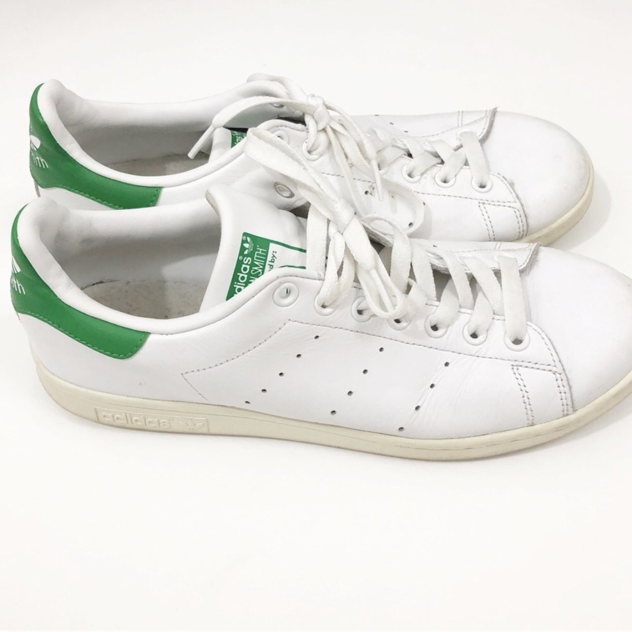 8ed46da6104 Adidas White   Green Original Stan Smith Size Men s of have - Depop