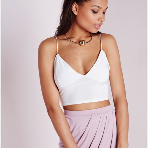 9ff615fd2f Missguided slinky bralet crop top white . Never been worn so - Depop