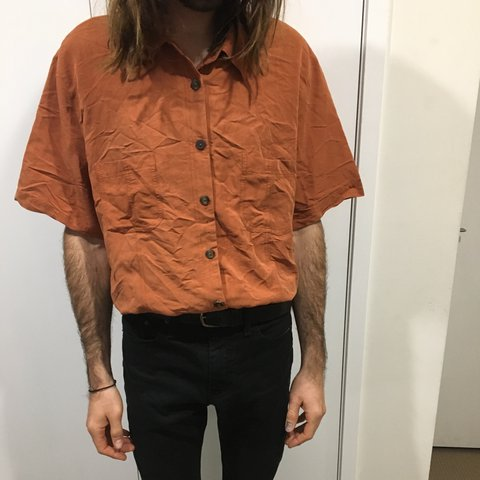 67fa3adaabebb Men s burnt orange silk shirt sleeve button up shirt. Size - Depop