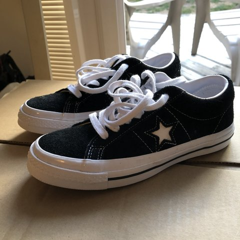 947a6fdf6c1b21 Converse One Star Ox trainers in black! Only worn once so as - Depop