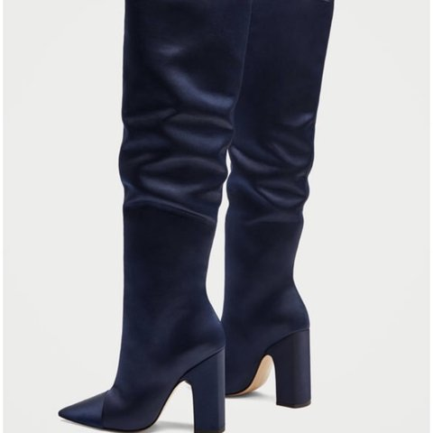 2309f025b94 knee high boots BRAND NEW NEVER WORN Zara Navy Satin - Depop