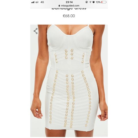7217e2e7 @leanne176. 2 months ago. Dublin, Ireland. White and gold bandage dress  from missguided. Size 4. Worn once