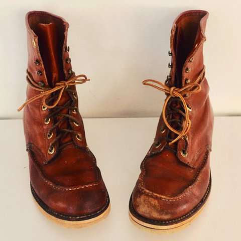 0115fc95544f Vintage 50s Hunting Boots Leather Lace Up Boots Calf High 9 - Depop