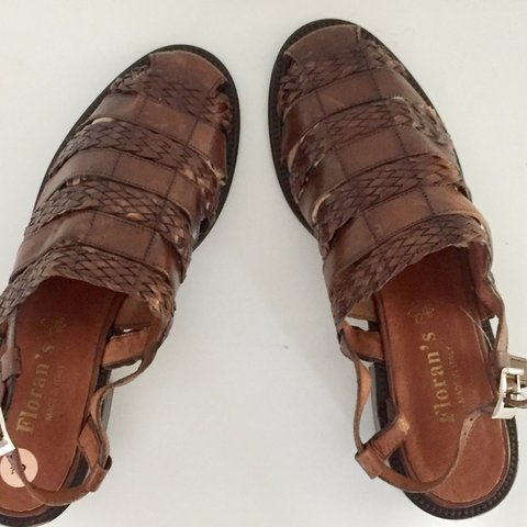 e08a83a57b05 Braided Leather Huarache Sandals vintage 90s Brown Shoes in - Depop