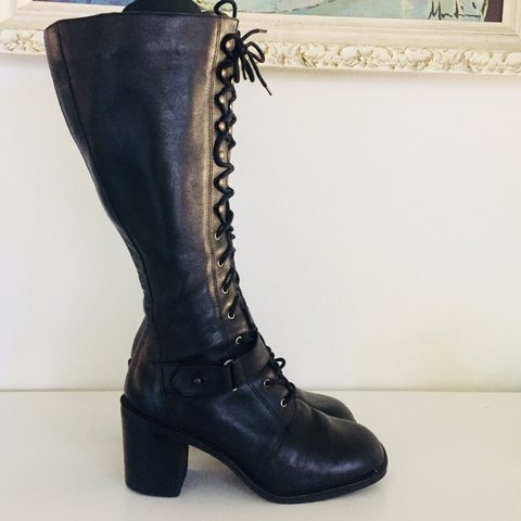 71dae3b3f43 Vintage 90s Lace Up Boots Black Leather Knee High Gogo Boots - Depop