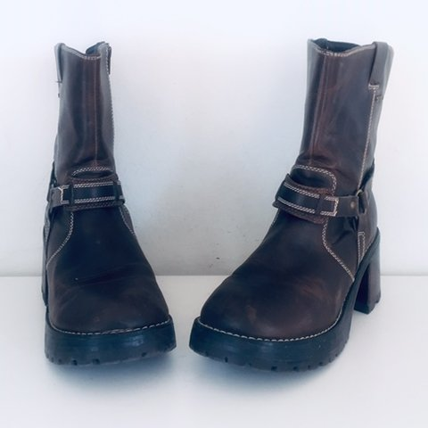 31fa2cc32d9f4 @littlebitofsole. 7 months ago. Las Vegas, United States. Vintage 90s  Platform Ankle Boots Vegan Leather Chunky Heels by Skechers ...
