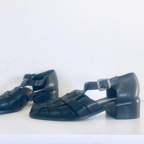 a8d277f12f @littlebitofsole. 2 months ago. Las Vegas, United States. Vintage 90s Sandals  Black Leather Shoes Ankle Straps Closed Toe Low Block Heels Size 7.5 1/2 37  ...