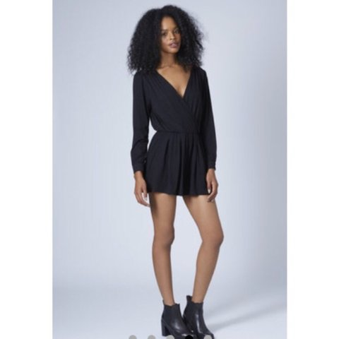 e1ae22b5500 Topshop black wrap crossover playsuit    long sleeved    a 8 - Depop