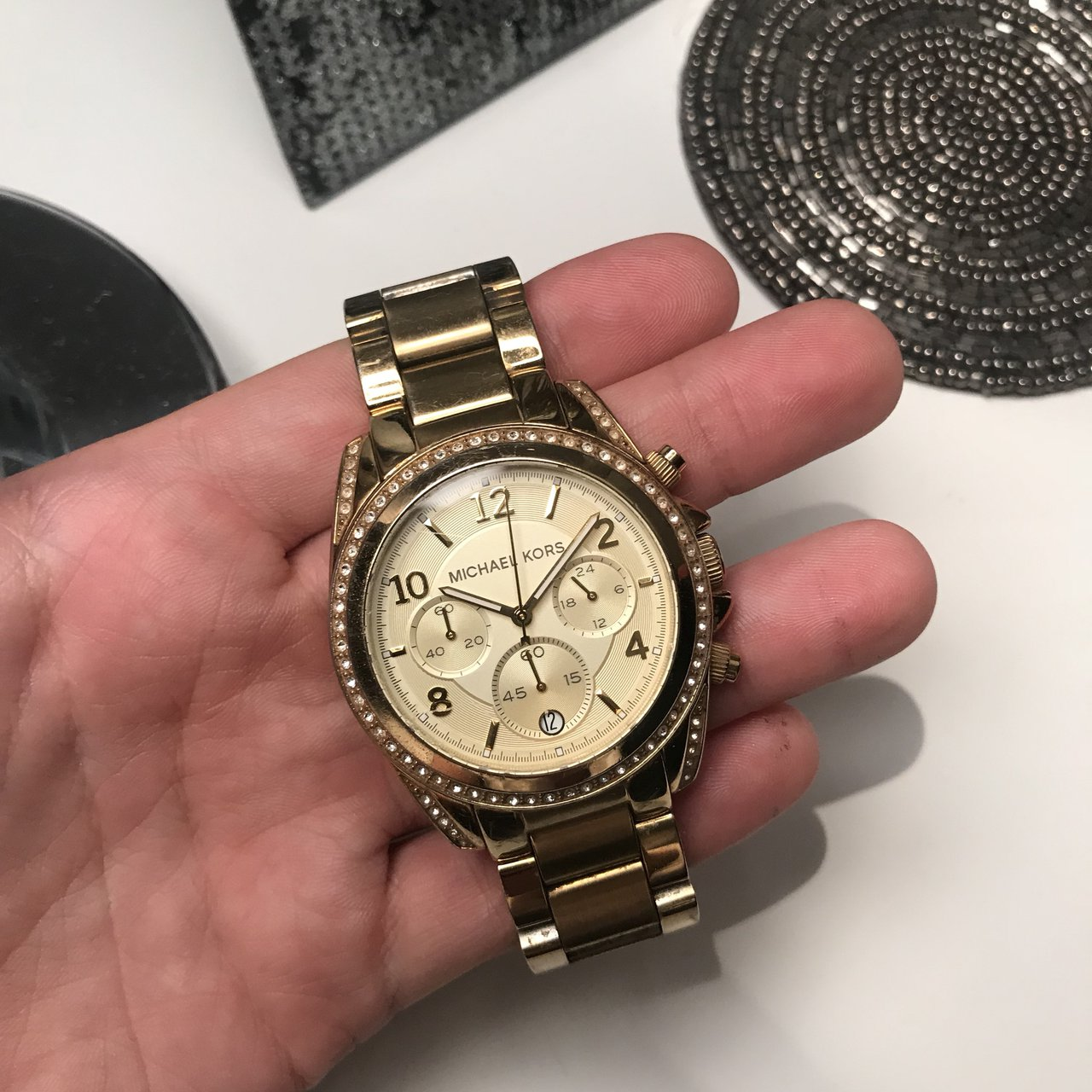 d8f63242de96 Gold Michael Kors watch. In good condition other than few on - Depop