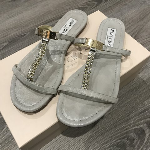 c7322d6dcb7b Jimmy Choo Sandals. Shimmer suede crystal silver 38.5 Paid - Depop