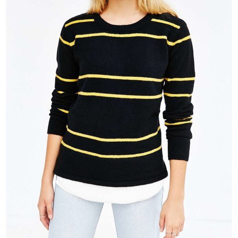 0823afca4 UNIF x Urban Outfitters Sweater -Black and yellow striped (I - Depop