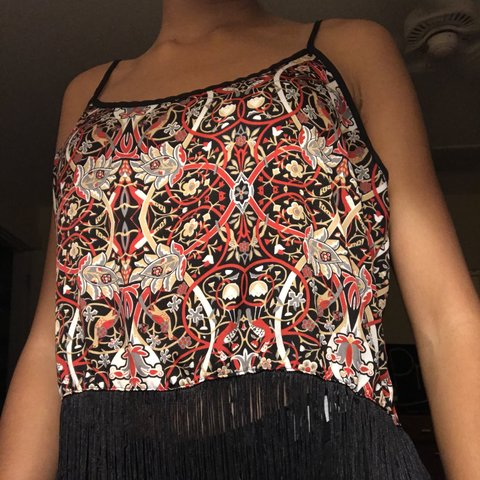 c0e4cc5c96ef92 Red tribal print tank top with black fringe Super cute and   - Depop
