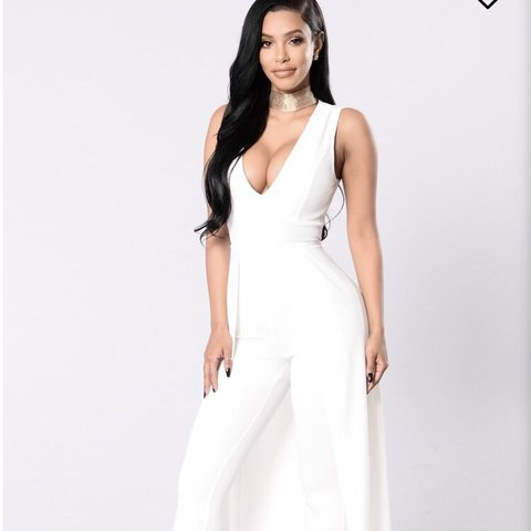 72487ca06d6 White fashion nova jumpsuit with train. Perfect condition. - Depop