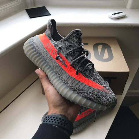 e484c408cbe7c YEEZY Boost 350 V2 Beluga Grey   Orange (Tiger) UK 8   EUR - Depop