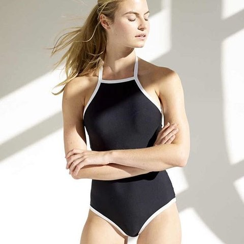 48cd395444a32 @gillianzinser. last year. New York, United States. Anne Cole Black and  White High Neck One-piece ...