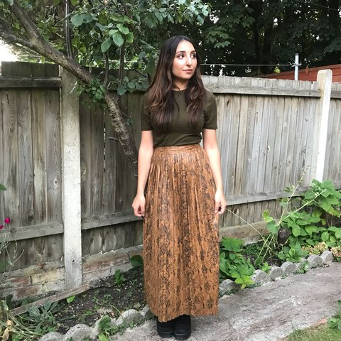 121cb30ef @faizajabeen. last month. Watford, United Kingdom. Zara leather snakeskin  brown pleated maxi skirt