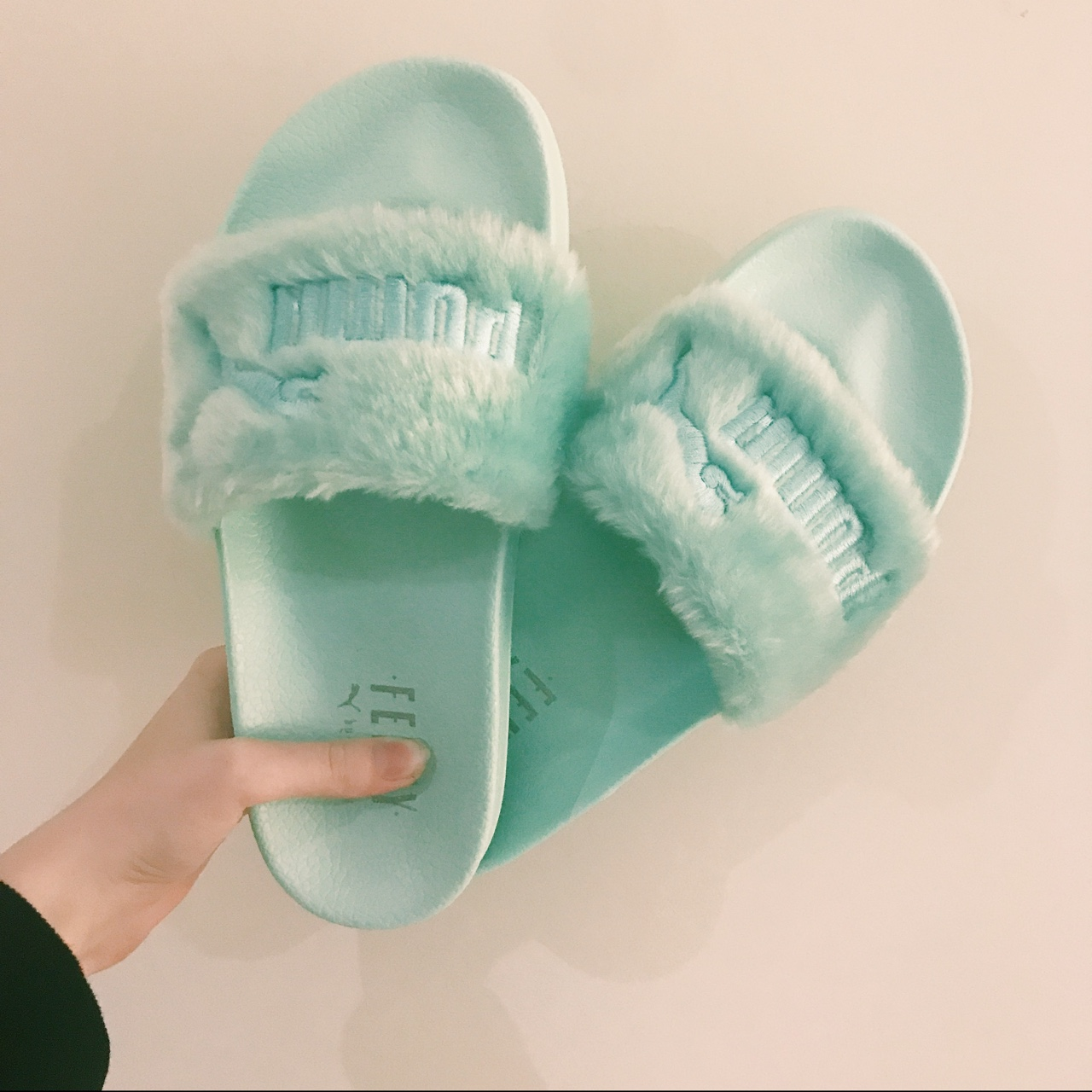 wholesale dealer f482f a9c26 FENTY X PUMA SLIDES IN MINT unfortunately these are ...