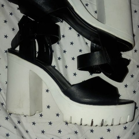 55681b0885f0 Forever 21 black and white platform lug sole heels sandals. - Depop