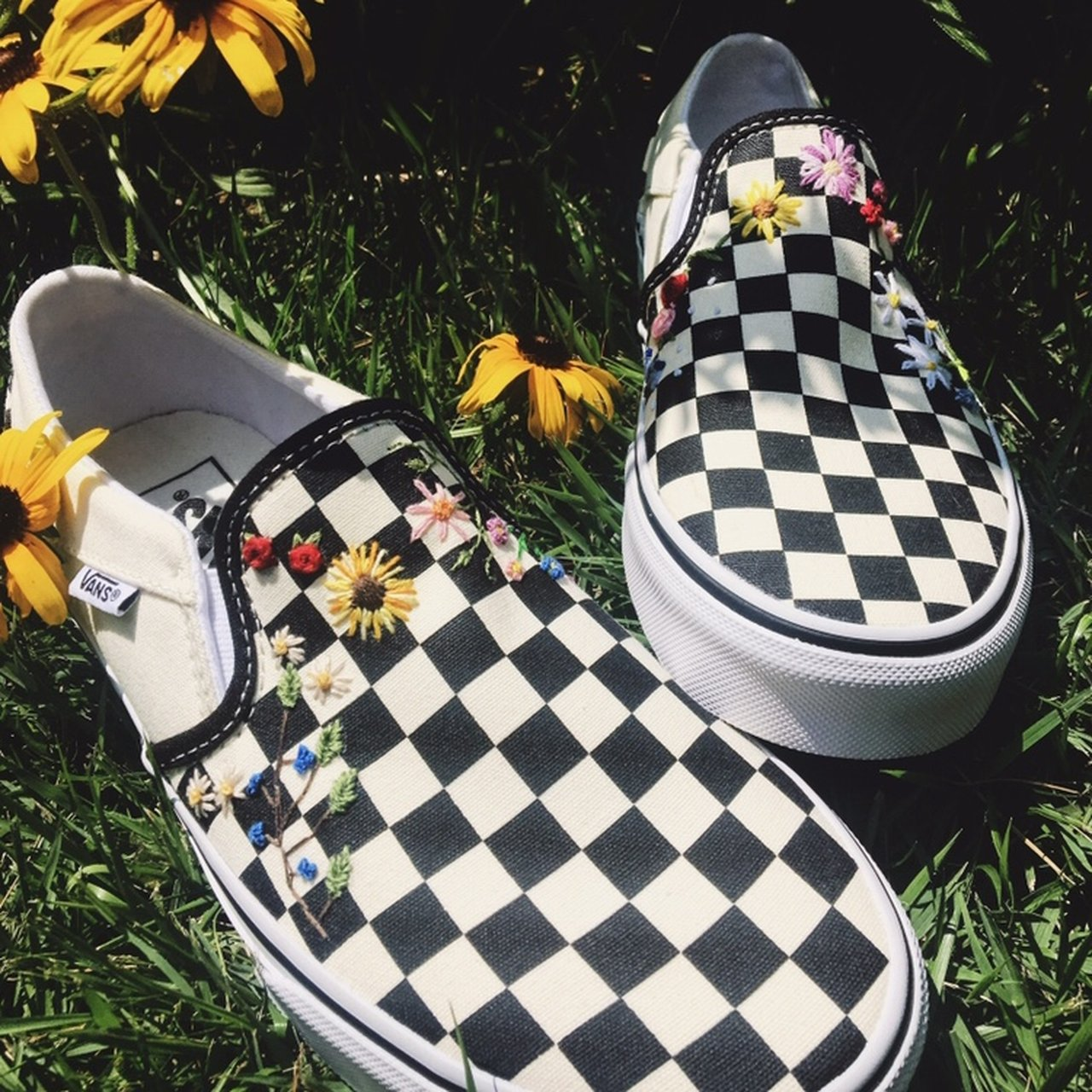 bf15be7d33e Custom embroidered checkered vans!! Spice up your plain or - Depop