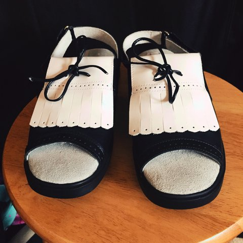 f74e9a9b600a White and black only worn once sandals with bows on them. to - Depop