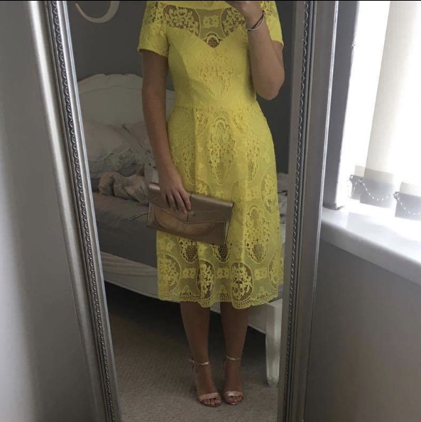 River Island Yellow Lace Midi Prom Dress Size 12 Depop