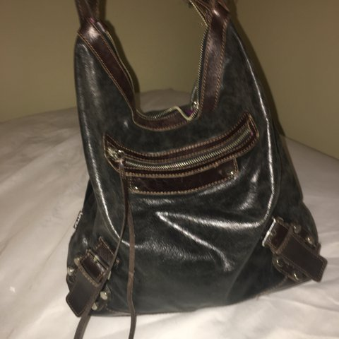 f146e3dcf27a leather tano patch shoulder bag with side zippers- main is - Depop