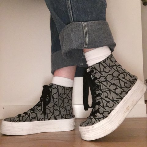 2287bc7f749 Calvin Klein high top platform sneakers! FREE SHIPPING. No I - Depop