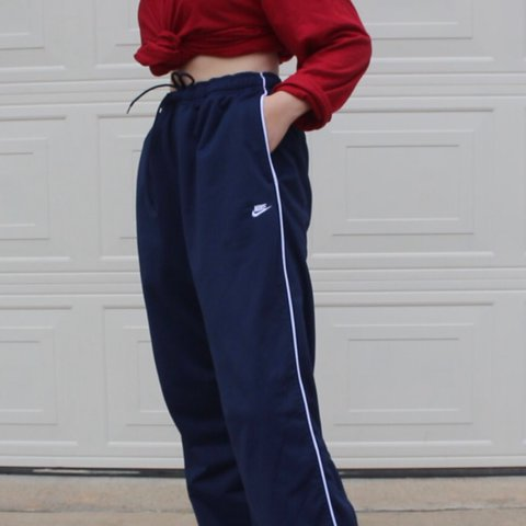 c1b3c5243f86 Navy blue Nike sweat pants in a size Large but they have an - Depop